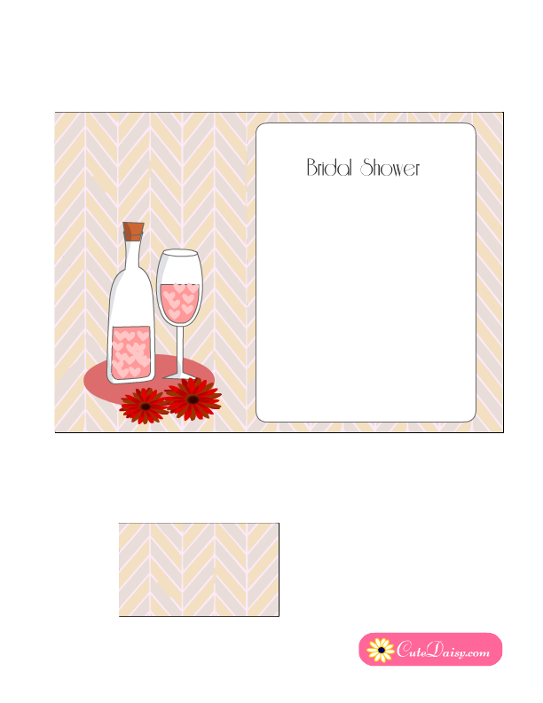 free printable bridal shower cocktail party invitation in pink color