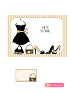 Little Black Dress Bridal Shower Invitation in Beige Color