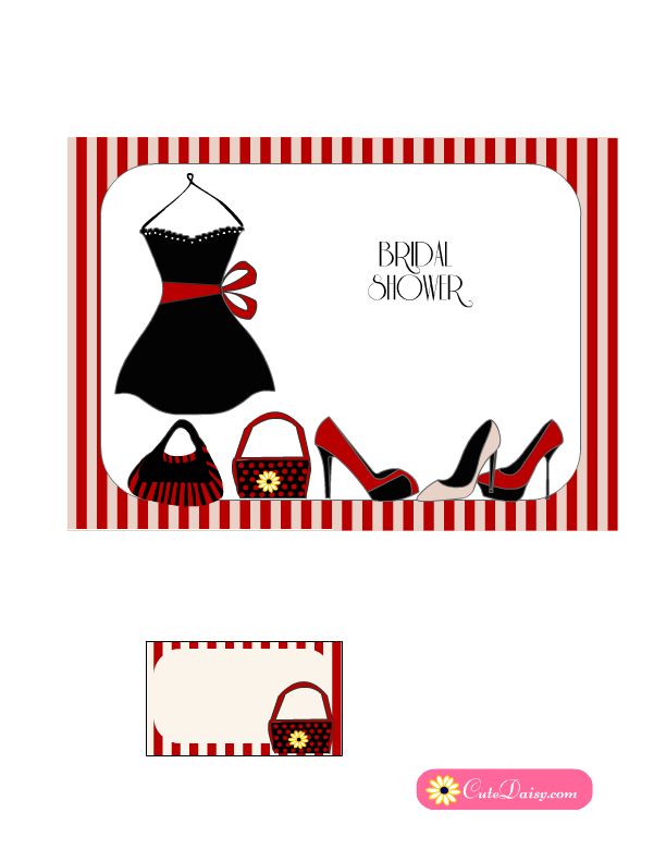 Little Black Dress themed Bridal Shower Invitations
