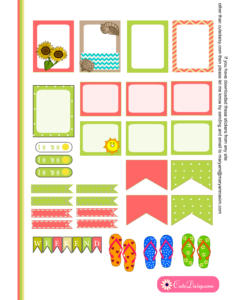 Summer and Beach Stickers half boxes for ECLP