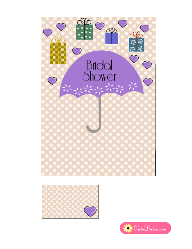 cute free printable bridal shower invitation in lilac color