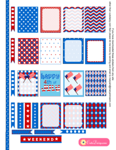 Free Printable 4th of July Stickers for Erin Condren Life Planner