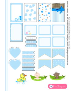 Free Printable Baby Stickers for Happy Planner in Blue Color