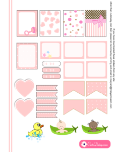Free Printable Baby themed Stickers for ECLP in Pink Color