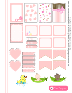 Free Printable Baby Stickers for Happy Planner in Pink Color