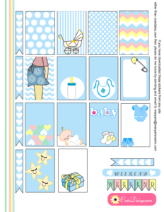 Free Printable Baby themed Stickers for Happy Planner in Blue Color
