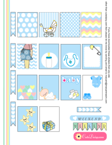 Baby themed Stickers for Erin Condren in Blue Color