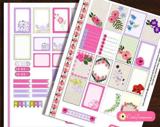 Free Printable Floral Kit for Happy Planner