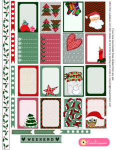 Free Printable Rustic Christmas Stickers for Classic Happy Planner
