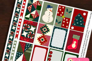 Christmas Quilt Inspired Planner Stickers