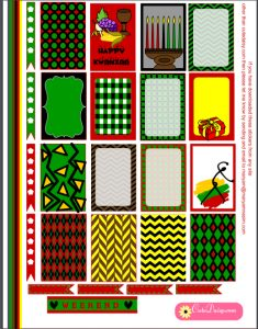 Free printable colorful Kwanzaa stickers for HP